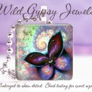 Mystical Fractal Magic BUTTERFLY HOT Glass Tile Pendant