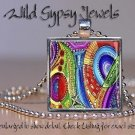 """Multi colored HOT RED Lime blue aqua abstract ART 1"""" glass tile pendant NECKLACE"""