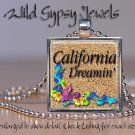 "California Dreamin' Beach Girl Flip Flops 1"" glass tile metal pendant necklace"