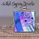 "Multi colored Purple light blue aqua abstract ART 1"" glass tile pendant NECKLACE"