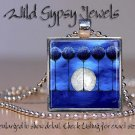 "Moon Trees night Bright colored blue abstract ART 1"" glass tile pendant NECKLACE"