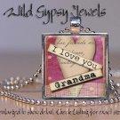 "Grandma Mothers Day Mom Nana LOVE HEART 1"" glass tile pendant necklace gift idea"