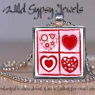 "Hearts squared POP culture 1"" chic glass tile metal pendant charm necklace"