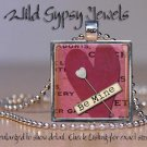 Heart necklace Red Mauve Be Mine Glass tile metal pendant charm