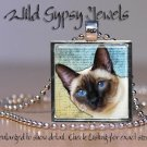 "Seal Point Siamese Blue Eyes digital paint 1"" Glass Tile Metal Pendant Necklace"