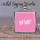 Got Faith PINK Breast Cancer Awareness HOT glass pendant metal charm necklace