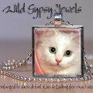 "Cat PINK sweet cute White KITTEN Green Eyes 1"" Glass Tile Metal Pendant Necklace"