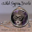 """Marie Antoinette Masked Goth Punk round 1"""" glass tile metal pendant necklace"""