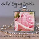 "Pink Sweetheart Rose pearl ephemera 1"" glass tile square metal pendant necklace"