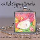"White Bird pink lime yellow green 1"" glass tile pendant necklace NEW Low Price"