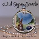 """Blue Egg French Easter Bunny chic HOT 1"""" glass tile round metal pendant necklace"""
