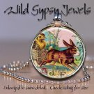 """Easter Bunny chick cart Vtg Victorian 1"""" glass tile round metal pendant necklace"""