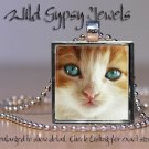 Cat sweet orange white cute KITTEN Green Eyes Glass Tile Metal Pendant Necklace