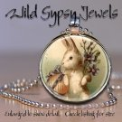 "Petit Lapin French Easter Bunny chic 1"" glass tile round metal pendant necklace"