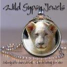 """White Lion cub BIG CAT 1"""" round glass tile metal pendant charm necklace"""