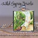 "Bunny rabbit snail green tan watercolor print 1"" HOT glass tile pendant necklace"