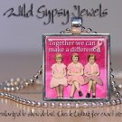 Make a Difference Together for BREAST CANCER Awareness glass tile pendant neckla