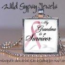 Pink Ribbon Grandma SURVIVOR Breast Cancer Awareness glass tile pendant charm