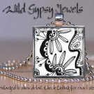 """Black & White DOODLES fashionista abstract art 1"""" glass tile pendant NECKLACE"""