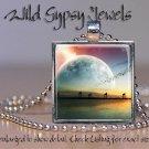 """Surreal Celestial Landscape Moon Planet ocean 1"""" Glass Tile Pendant necklace"""