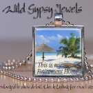 "Tropical Retirement Home Island Ocean Sea Beach glass 1"" metal pendant necklace"