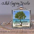 "Summer Ocean Sea Beach BLOOM Tree sand 1"" HOT glass tile metal pendant necklace"