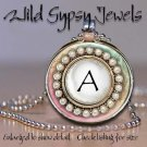 Personalized A-Z alphabet initial chic design round glass Tile Necklace Pendant
