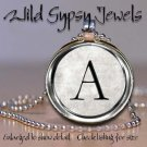A-Z Initial alphabet Personalized Vtg Silver tone rd glass Tile Necklace Pendant
