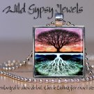 "Tree of Life Reflection Yin Yang chic modern 1"" sq glass tile pendant necklace"