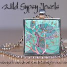"Tree of Life chic Aqua Blue 1"" SQUARE glass tile metal charm pendant necklace"