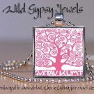 "Gustav Klimt Tree of Life PINK 1"" SQUARE glass tile metal charm pendant necklace"