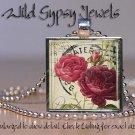 "Chic shabby vtg postcard roses ivory red 1"" glass tile pendant necklace made USA"