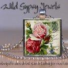 "Antique Postcard Vtg roses chic shabby Pink Red 1"" glass tile pendant necklace"