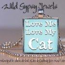 "Love My Cat Kitten U choose color cute chic 1"" glass tile metal pendant necklac"