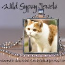 "Cat Kitten Ginger white furry cute chic 1"" HOT glass tile metal pendant necklac"