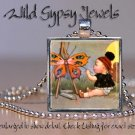Vintage child Artist butterfly painting glass tile metal pendant charm necklace