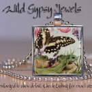 Butterfly green lizard pink blue green glass tile metal pendant charm necklace