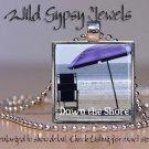 "Down the Jersey Shore beach umbrella summer sea 1"" glass tile pendant necklace"