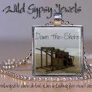 "Down the Jersey Shore beach lifeguard summer sea 1"" glass tile pendant necklace"