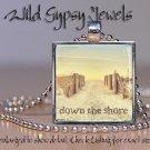 "Down the Jersey Shore beach hazy morn summer sea 1"" glass tile pendant necklace"