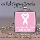 Pink White LOVE Breast Cancer Awareness glass tile metal pendant charm necklace