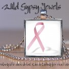Pink Ribbon Breast Cancer Awareness glass tile METAL tray pendant charm necklace