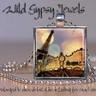 "Paris France Eiffel Tower Amusement Park Carousel 1"" glass tile pendant necklace"