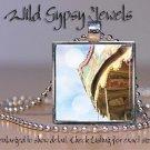 "Amusement Park Carousel Ferris Wheel FUN 1"" glass tile metal pendant necklace"