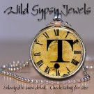 Initial ~ T Altered Art CLOCK face glass round cabochon Necklace Pendant Charm