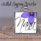 "Lavender PURPLE flower white chic NANA GIFT idea 1"" glass tile pendant necklace"