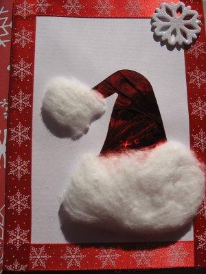 Handmade Iris Folded Christmas Greeting Card Red Santa Hat