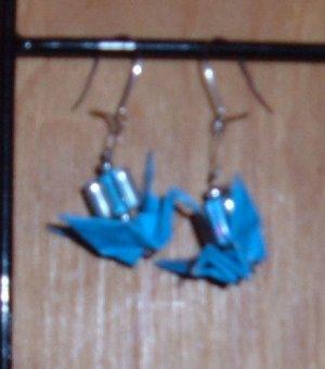 Cyan Origami Crane Earrings