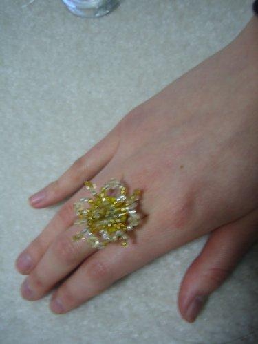 Beaded Yellow Daisy Ring