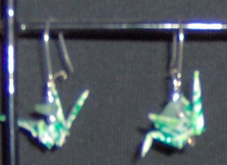 Aventurine Origami Crane Earrings